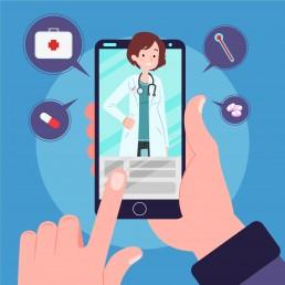 Dibujo de un profesional de salud a la pantalla de un teléfono