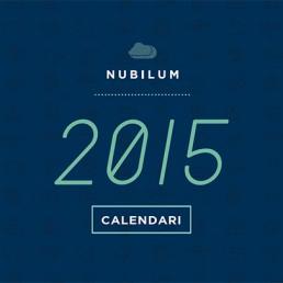 Calendari de Nubilum amb logotip del any 2015 en color blau fosc